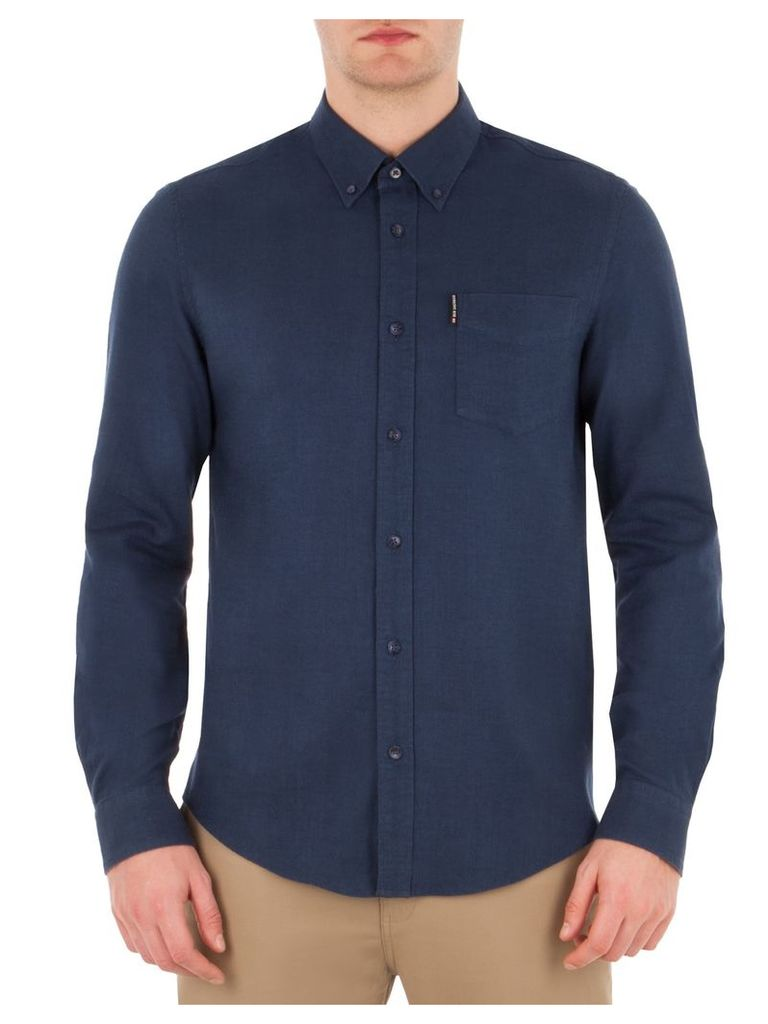 Long Sleeve Brushed Plain Shirt Sml EM6MidPetrolBlueMarl