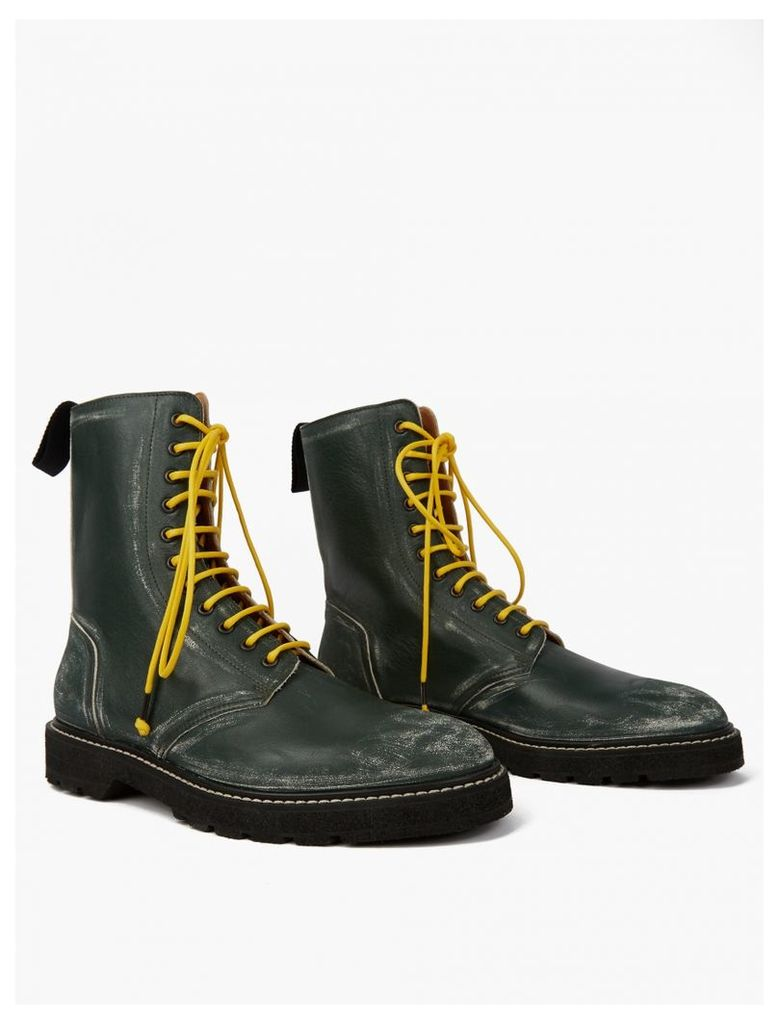 Green Scuffed Leather Punk Boots