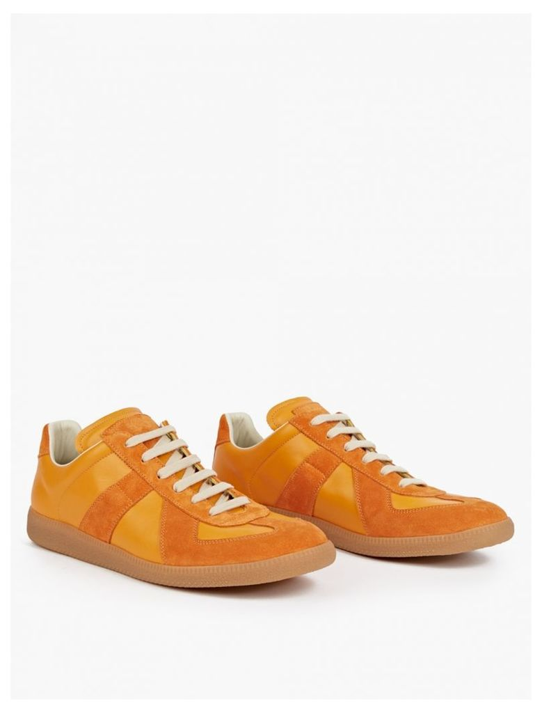 Orange Leather and Suede Replica Sneakers