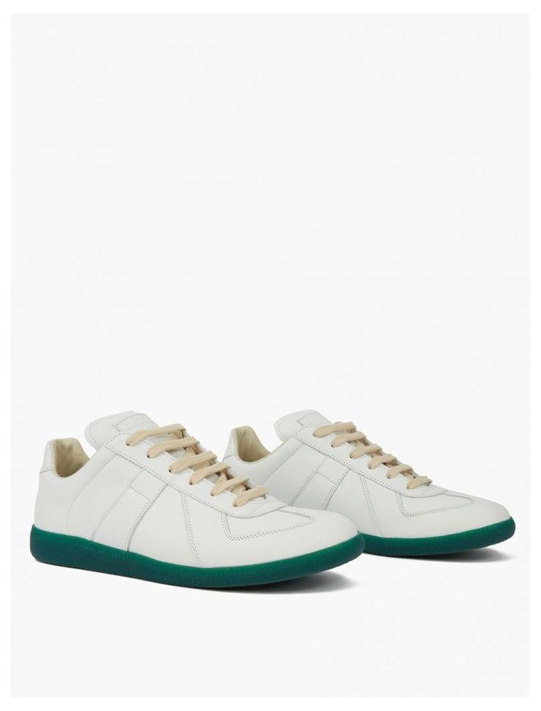 White Contrasting Sole Replica Sneakers