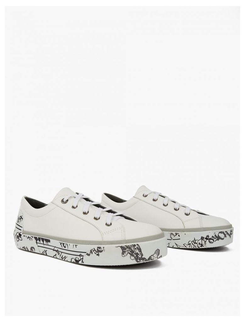 White Leather Graffiti-Sole Sneakers