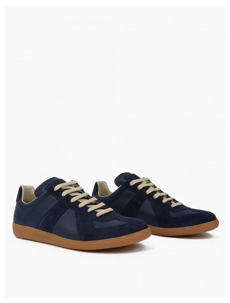 Blue Leather and Suede Replica Sneakers