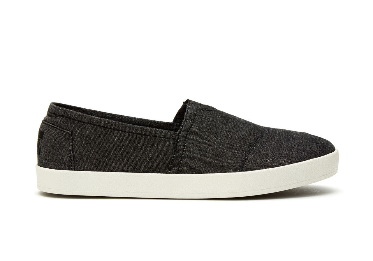 Black Chambray Men's Avalon Slip Ons