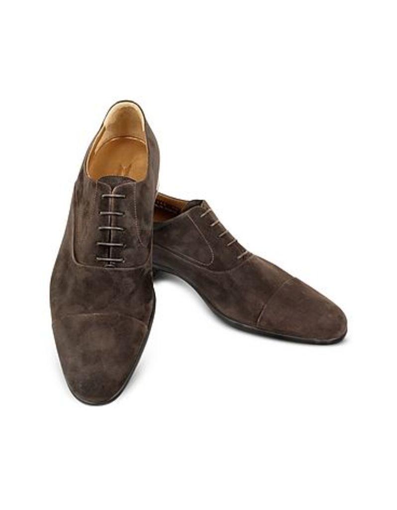 Moreschi - Dublin Dark Brown Suede Cap-Toe Oxford Shoes