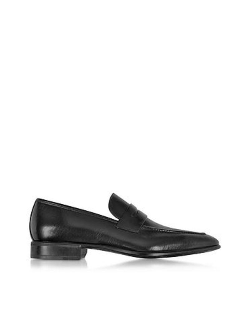 Moreschi - Liegi Black Buffalo Leather Loafer w/Rubber Sole
