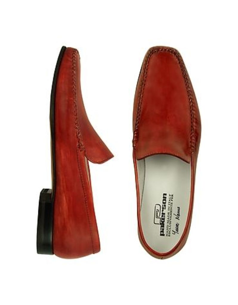 Pakerson - Red Italian Handmade Leather Loafer Shoes