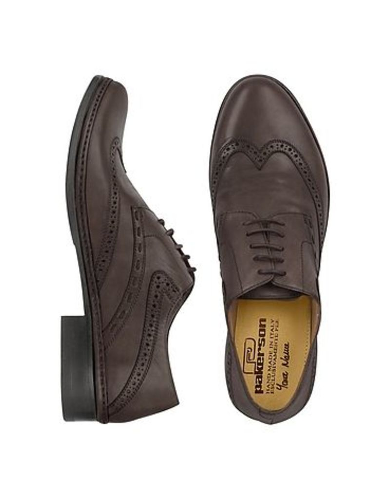 Pakerson - Dark Brown Handmade Italian Leather Wingtip Oxford Shoes