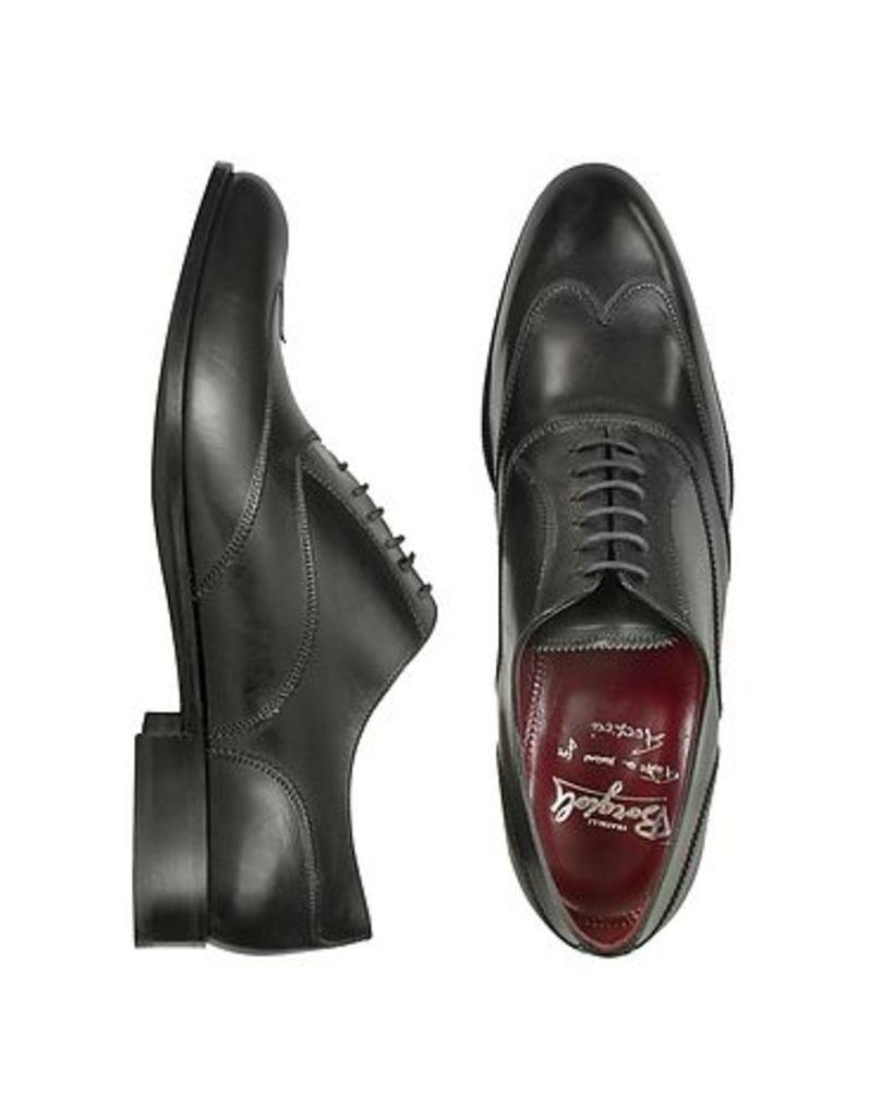 Fratelli Borgioli - Handmade Black Italian Leather Wingtip Oxford Shoes