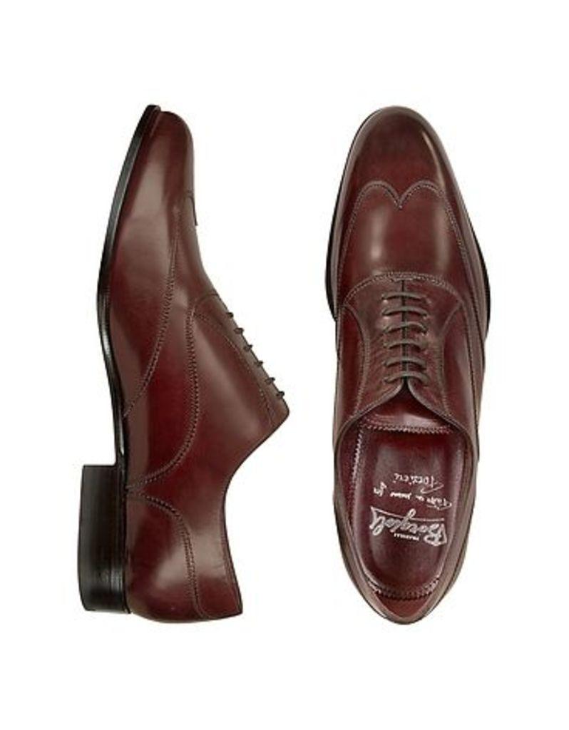 Fratelli Borgioli - Handmade Burgundy Italian Leather Wingtip Oxford Shoes