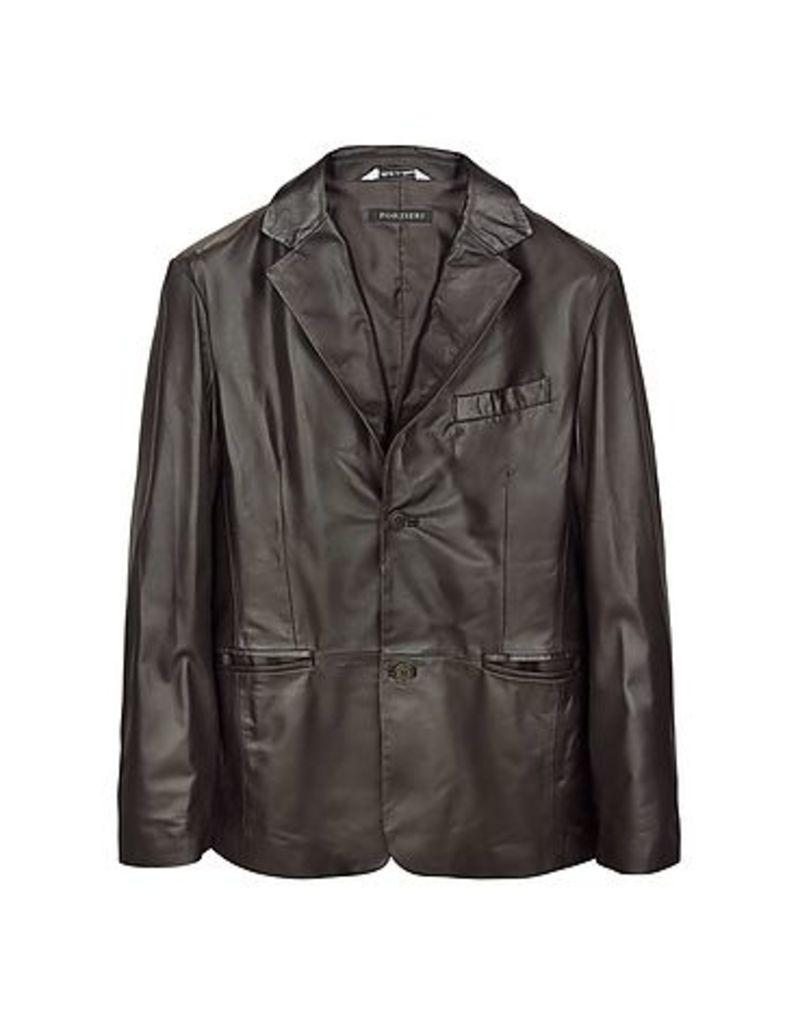 Forzieri - Dark Brown Italian Leather Blazer