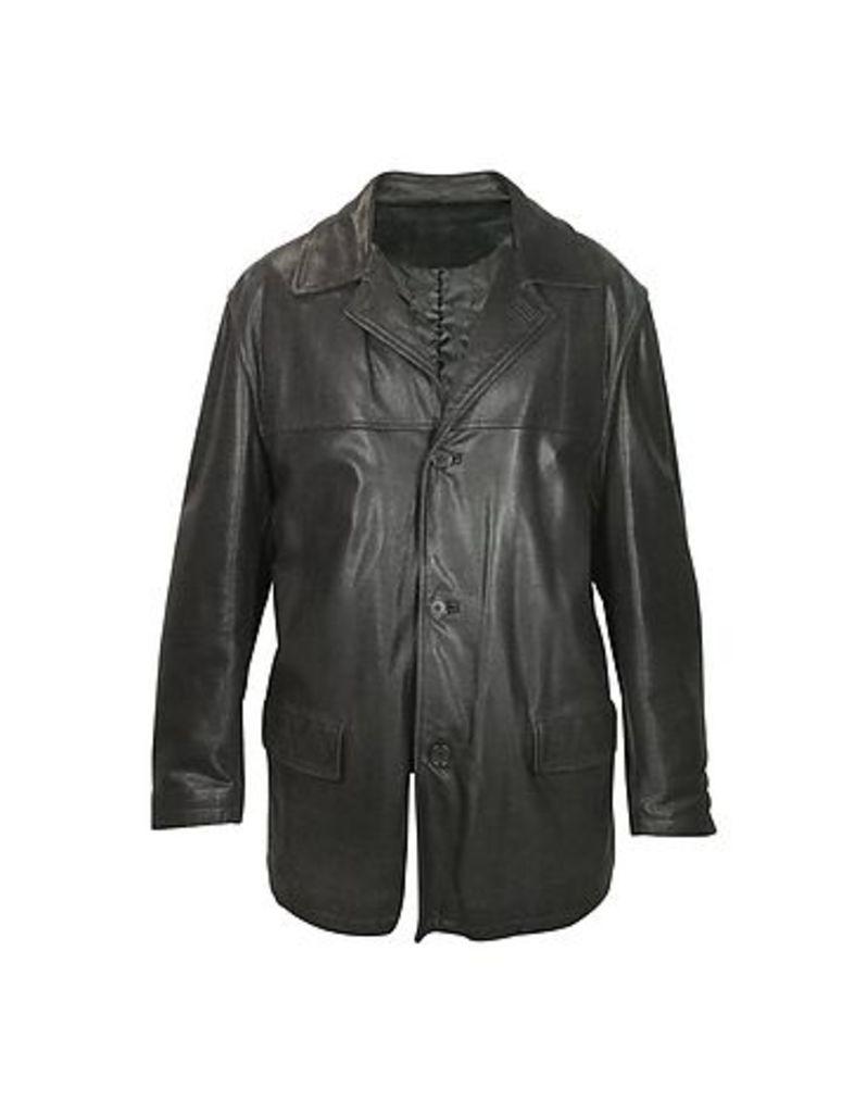 Forzieri - Men's Black Leather Jacket