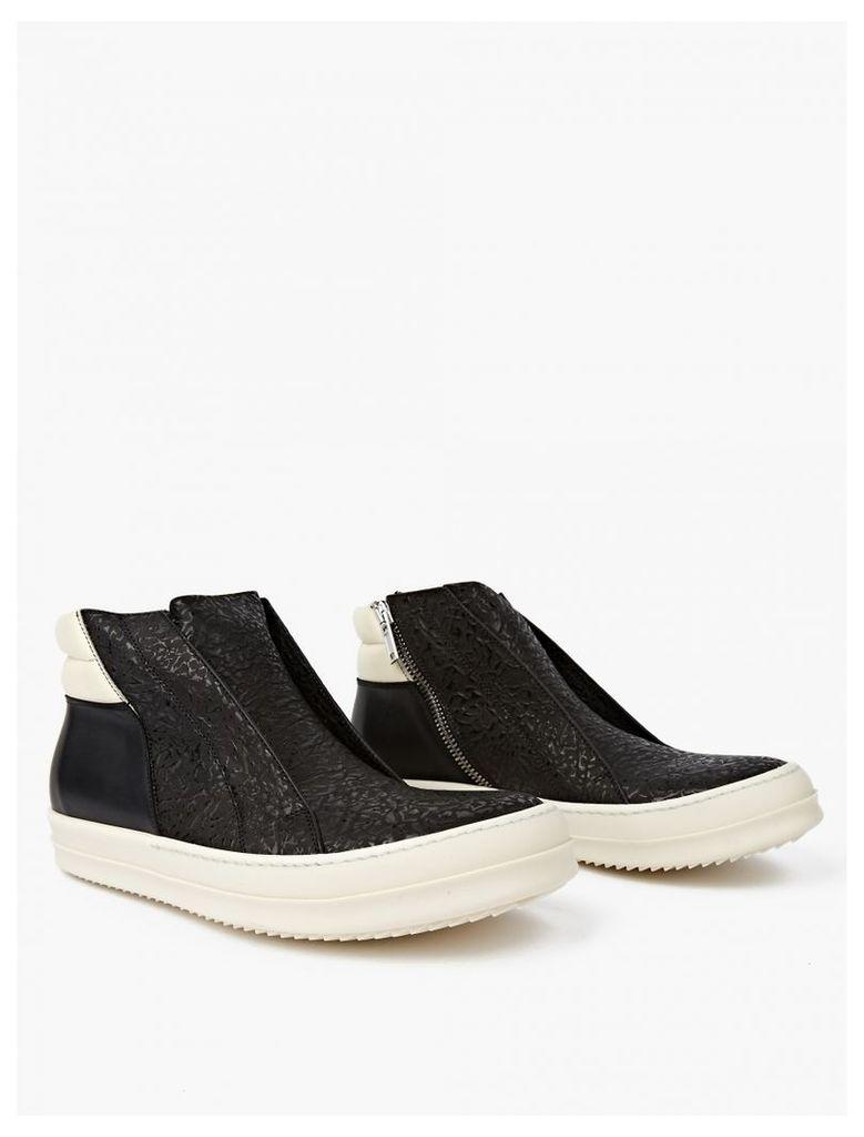 Black Embossed Mid-Top Sneakers