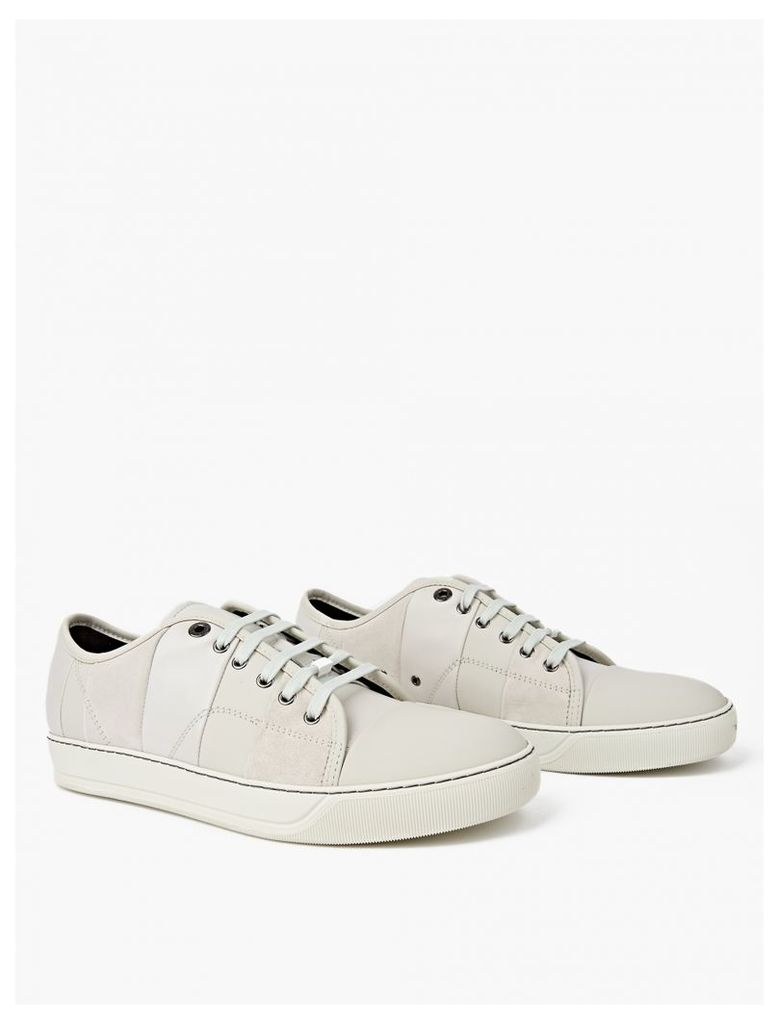 White Panelled Toe-Cap Sneakers