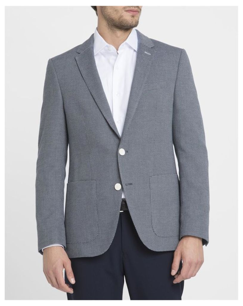 Grey Semi-Lined Patch Pockets Woven Cotton Jacket