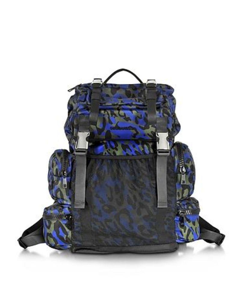 DSquared2 - Glam Leo Printed Black Green and Blue Nylon Backpack