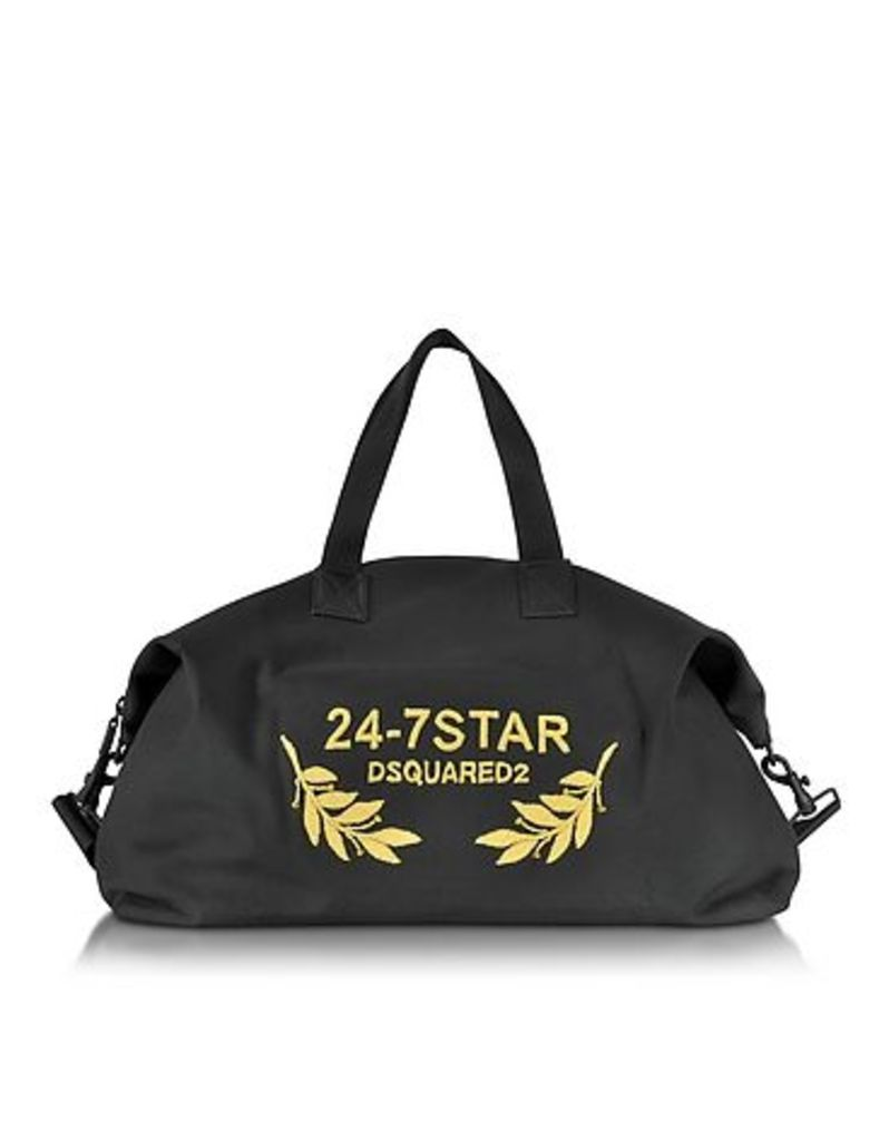 DSquared2 - 24-7 Star Icon Black Canvas Duffle Bag
