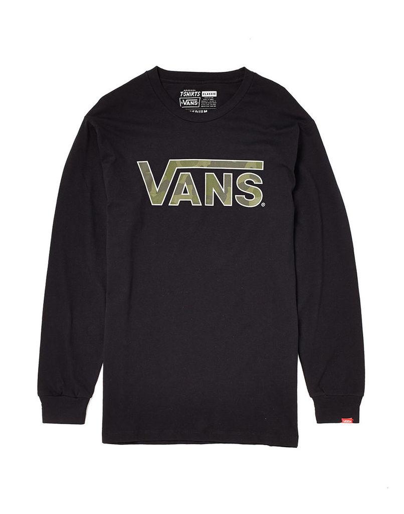 Vans Long Sleeve T Shirt with Camo Logo Print