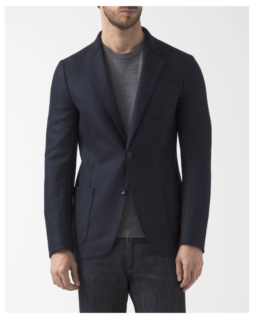Destructured Navy Blue Wool Jacket with Chest Pocket