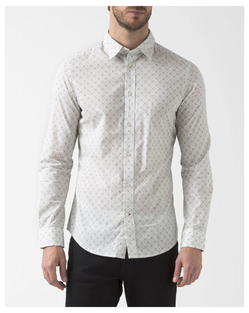 White All-Over Print Blanca Shirt