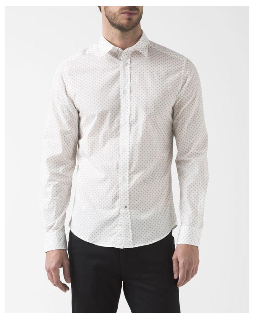 White Micro Flower Blanca Shirt