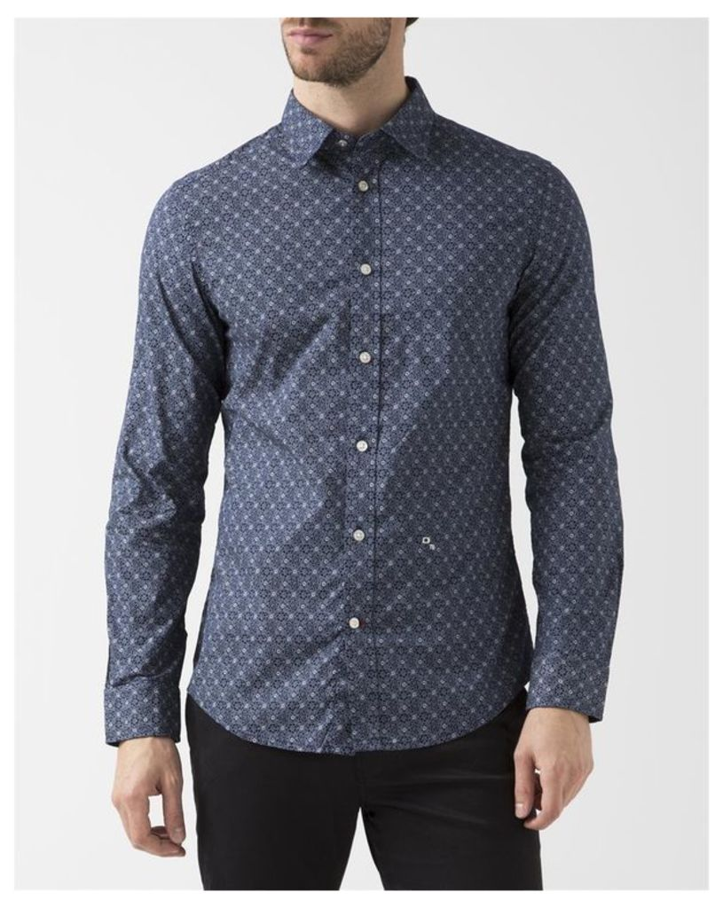 Navy Blue All-Over Print Blanca Shirt