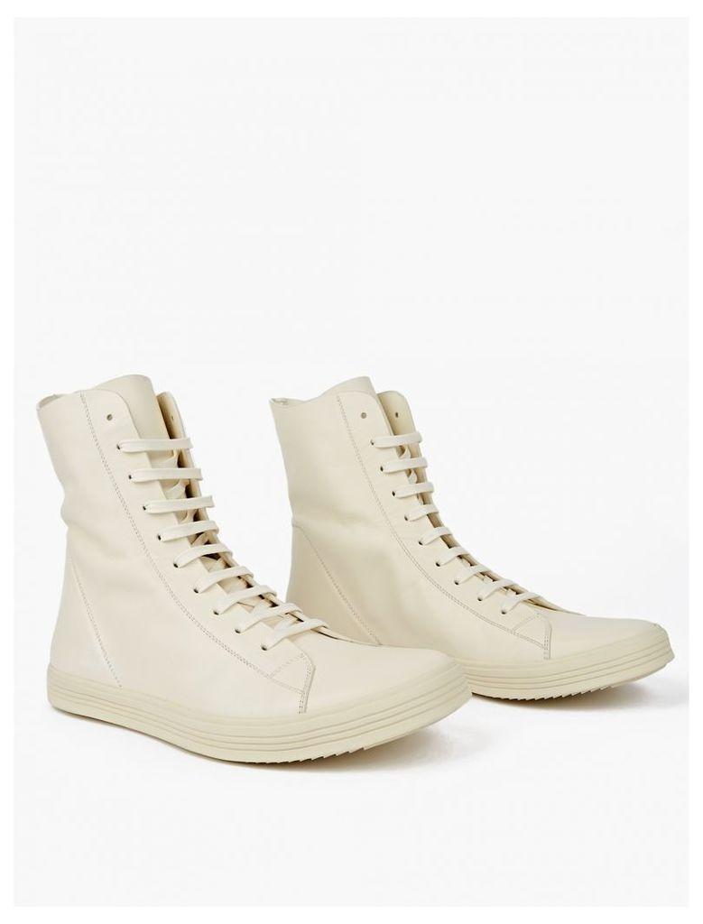 Cream Leather Hi-Top Sneakers