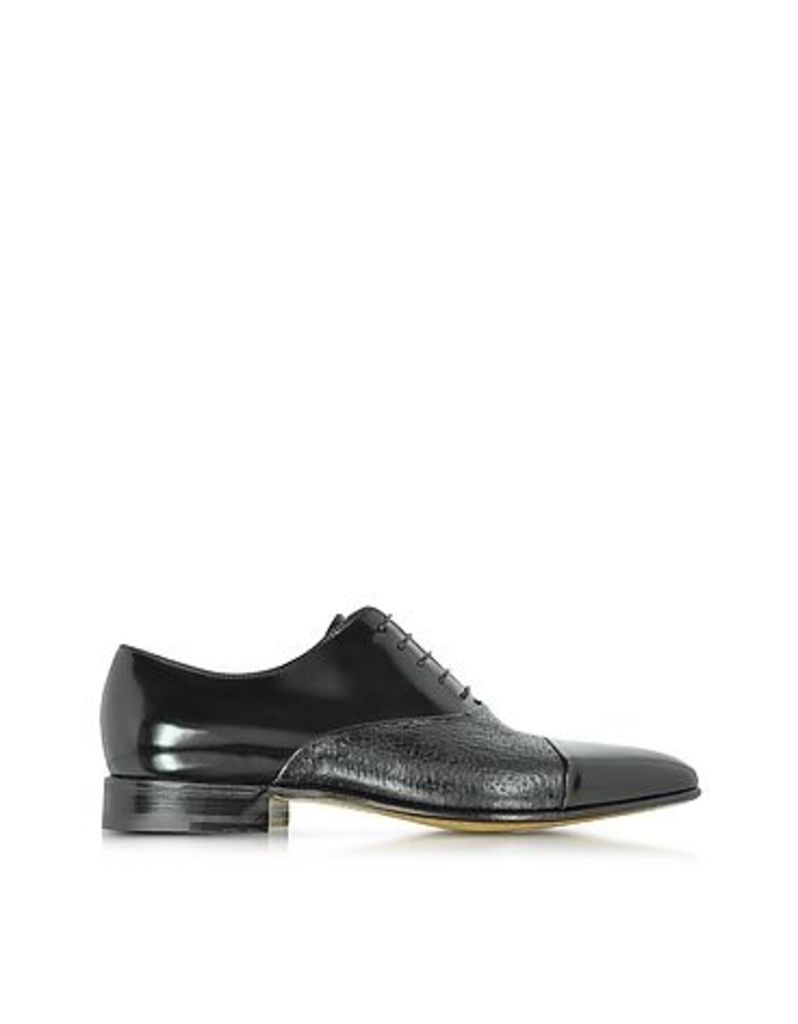 Moreschi - Digione Black Peccary and Calf Leather Oxford Shoes