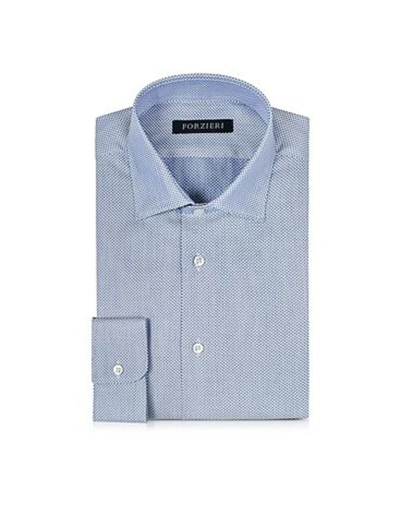 Forzieri - White and Blue Woven Cotton Dress Shirt