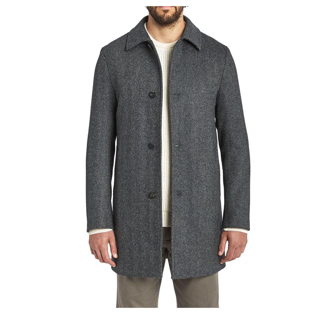 SB Wool Overcoat - Light Grey Herringbone