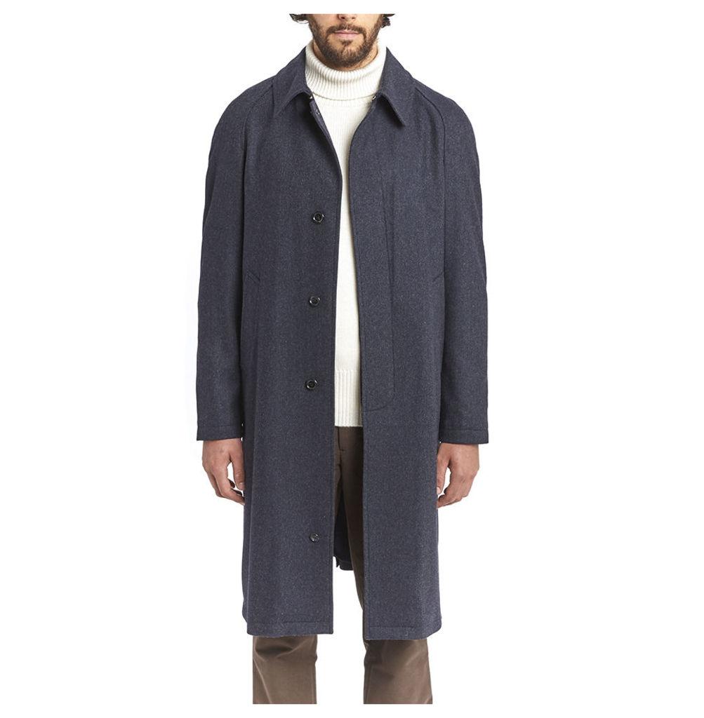 Cashmere Swagger Coat - Navy Herringbone
