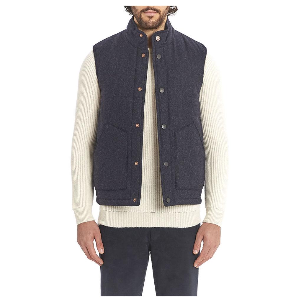 Cashmere Wool Wadded Gilet - Navy Herringbone