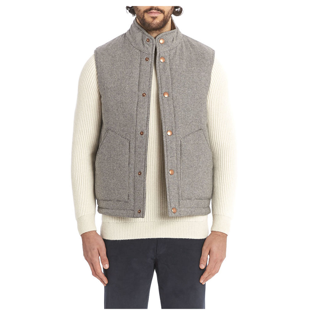 Cashmere Wool Wadded Gilet - Puppytooth