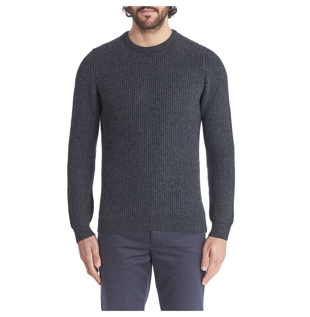 Cashmere Ribbed Crew Neck - Charcoal