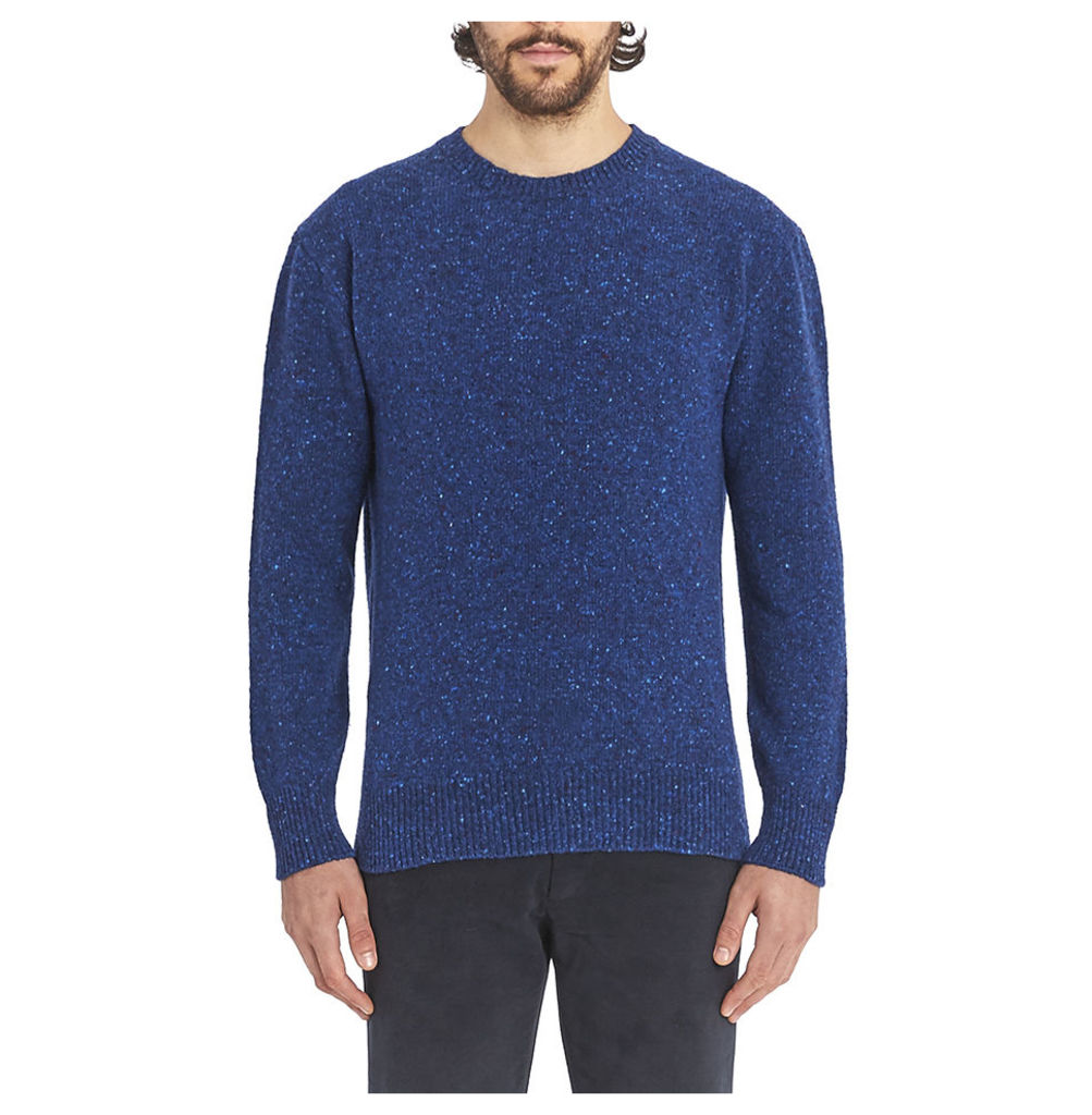 Inis Meáin Donegal Crew Neck Sweater - Ron Blue