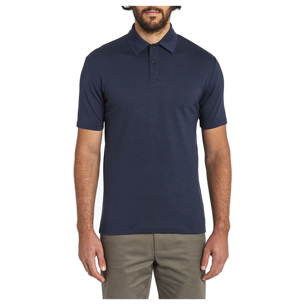 Short Sleeve Merino Polo - Navy