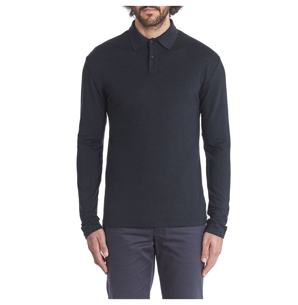 Long Sleeve Merino Polo - Charcoal