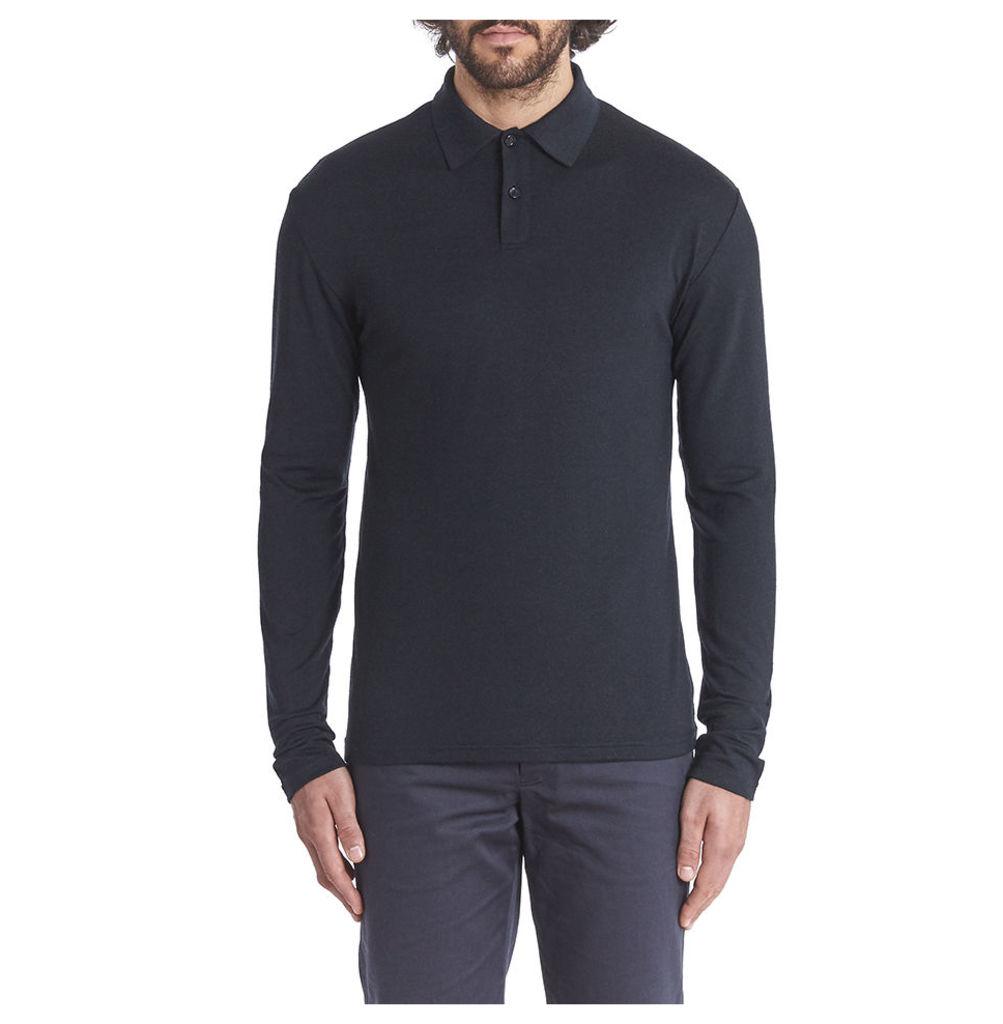 Long Sleeve Merino Polo - Charcoal