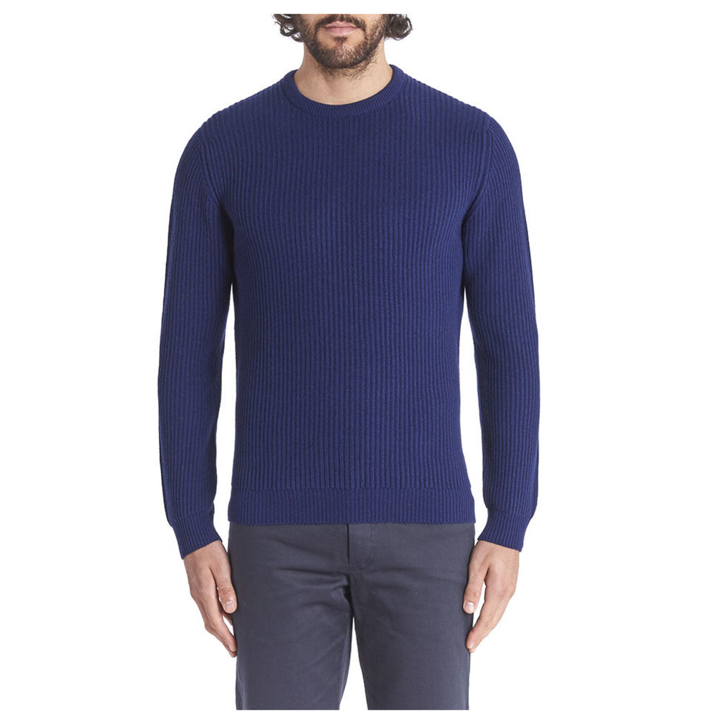 Cashmere Ribbed Crew Neck - Navy