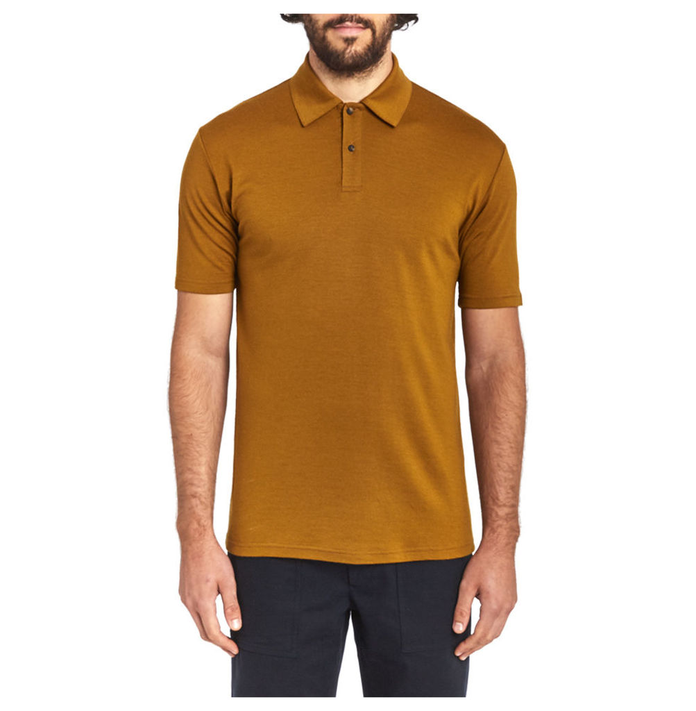 Short Sleeve Merino Polo - Cinnamon
