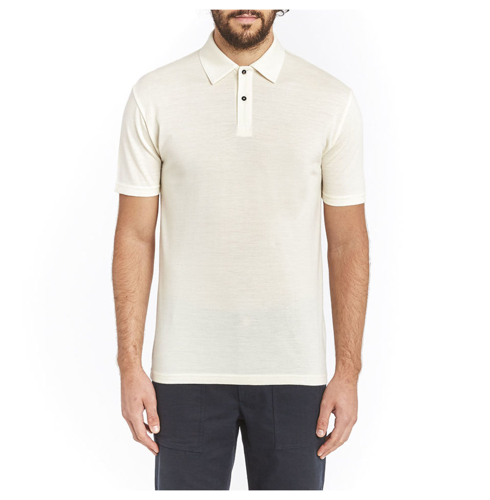 Short Sleeve Merino Polo - Ecru