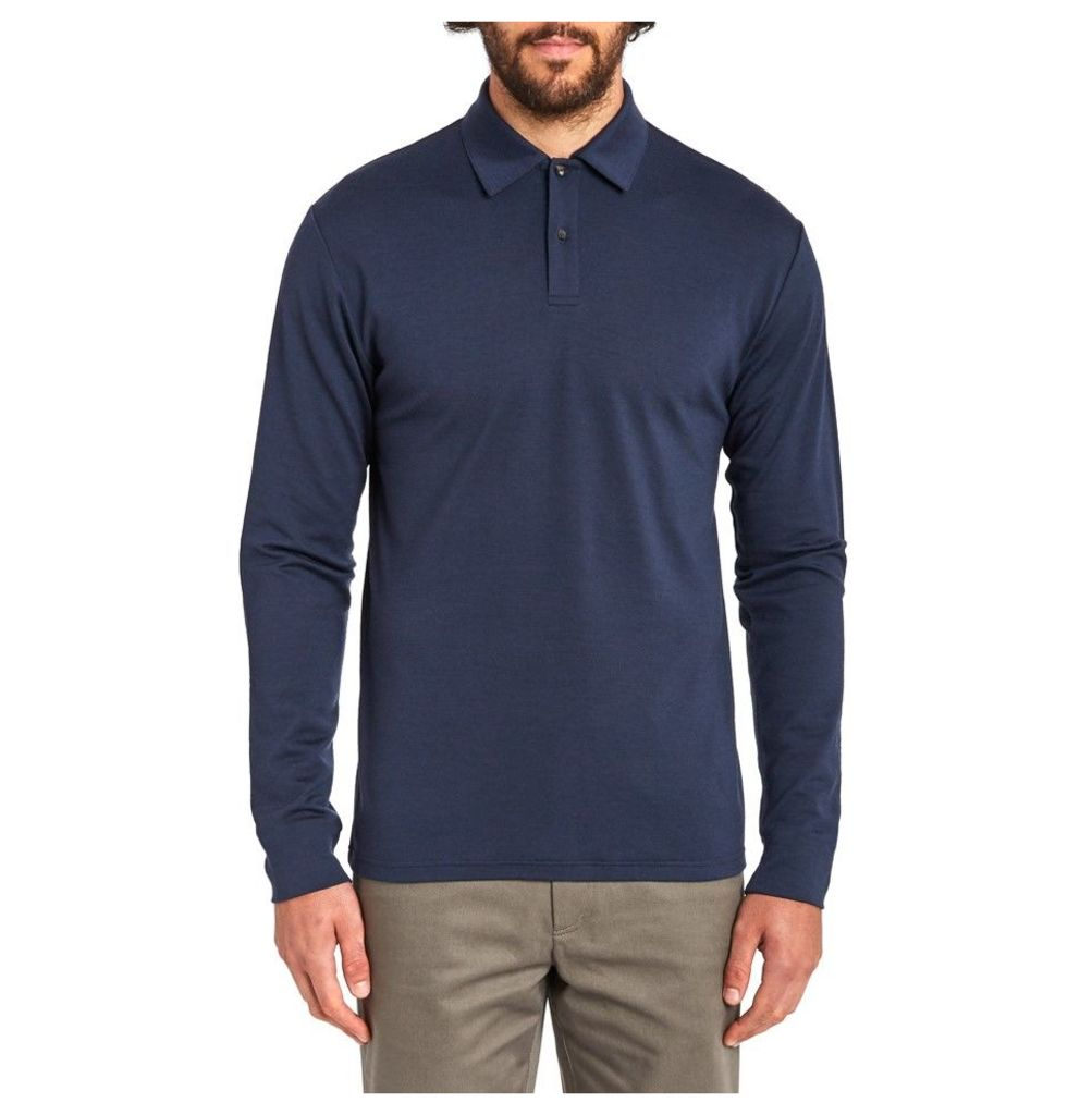Long Sleeve Merino Polo - Navy