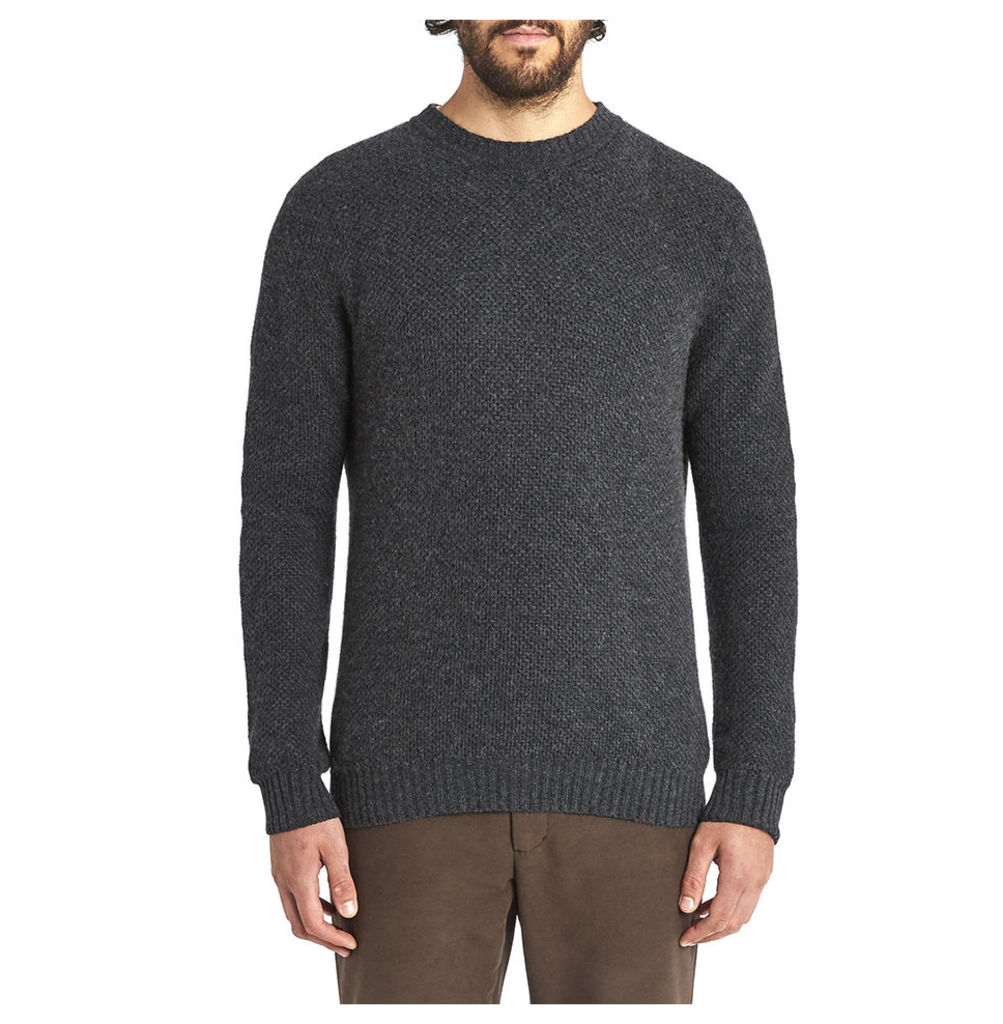 Honeycomb Cashmere Crew Neck - Charcoal