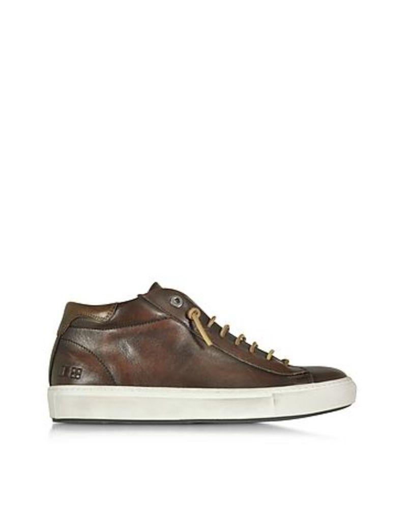D'Acquasparta - Mid Urban Dark Brown Leather Men's Sneaker