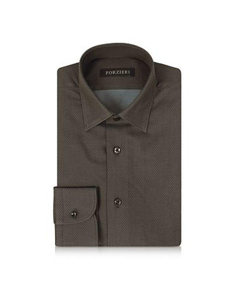 Forzieri - Brown Mini Dots Cotton Slim Fit Men's Shirt