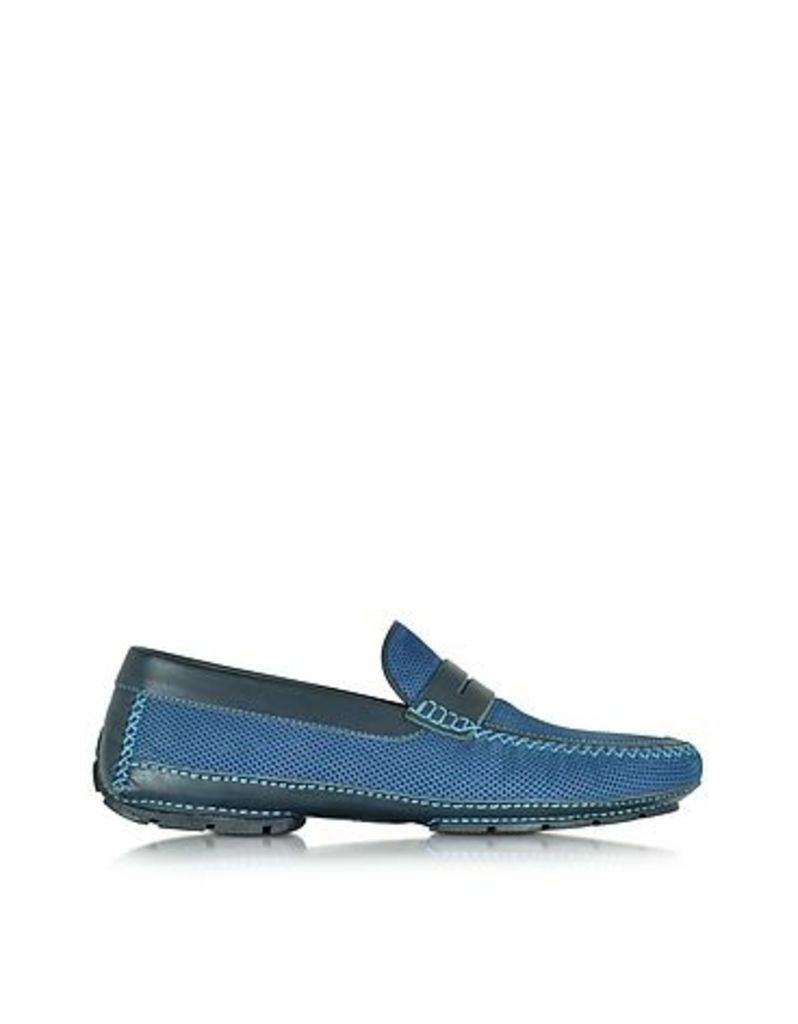 Moreschi - Bahamas Blue Perforated Nubuck Driver Shoes w/Rubber Sole