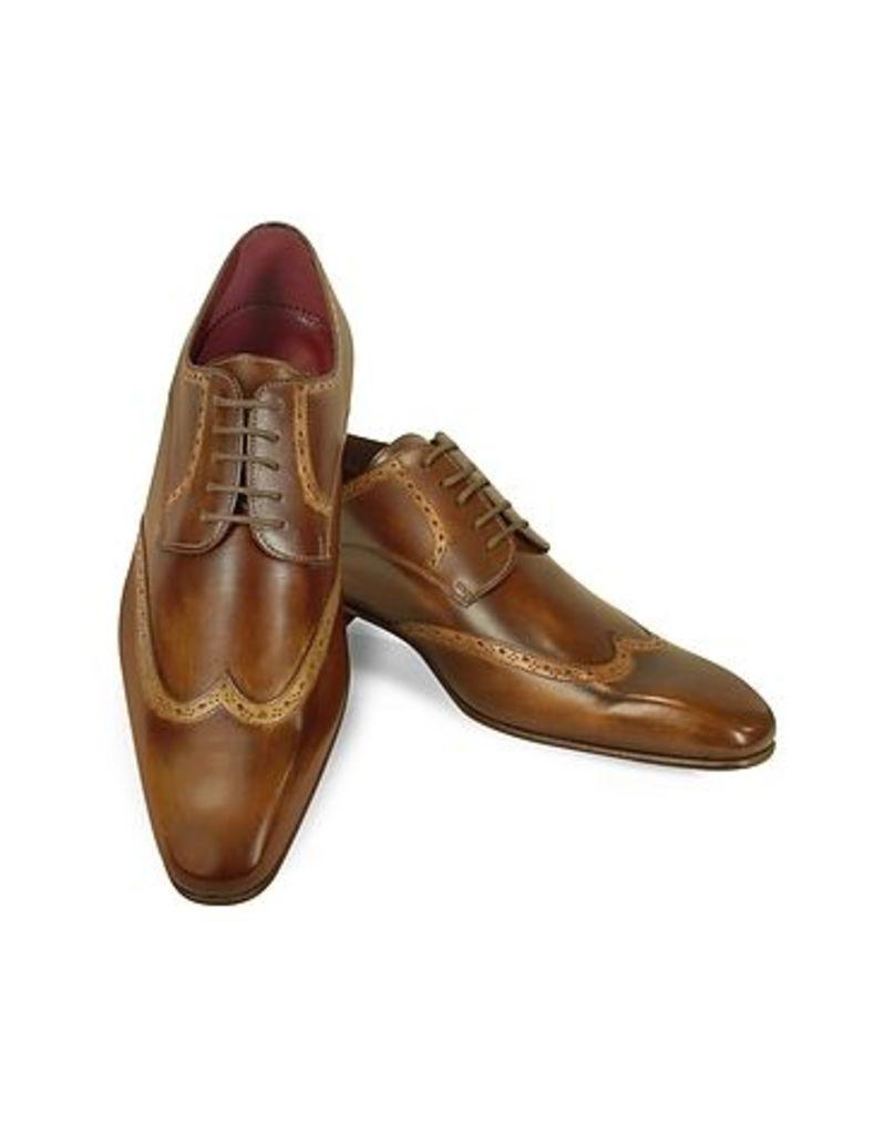 Fratelli Borgioli - Handmade Light Brown Italian Leather Wingtip Dress Shoes