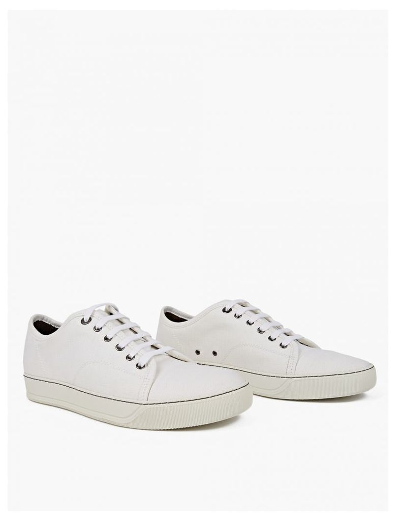 Off-White Textured Linen Sneakers