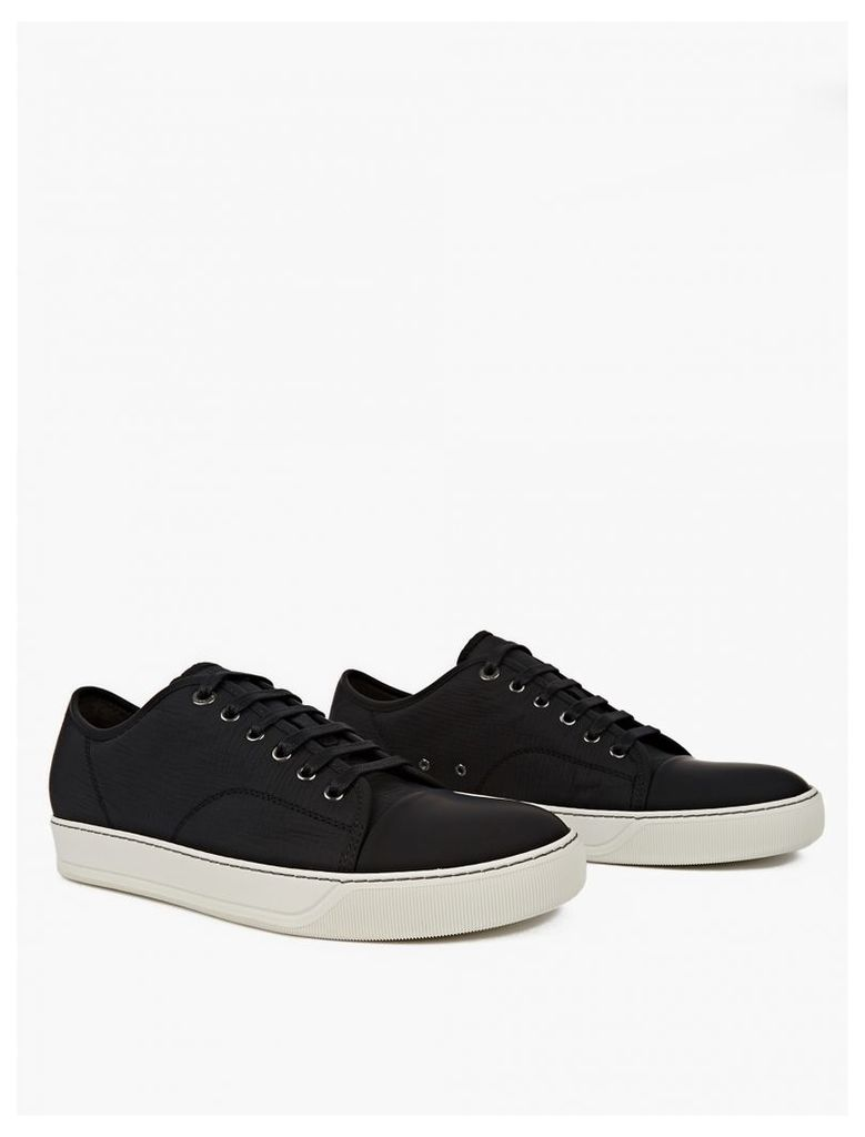 Black Textured Leather Sneakers
