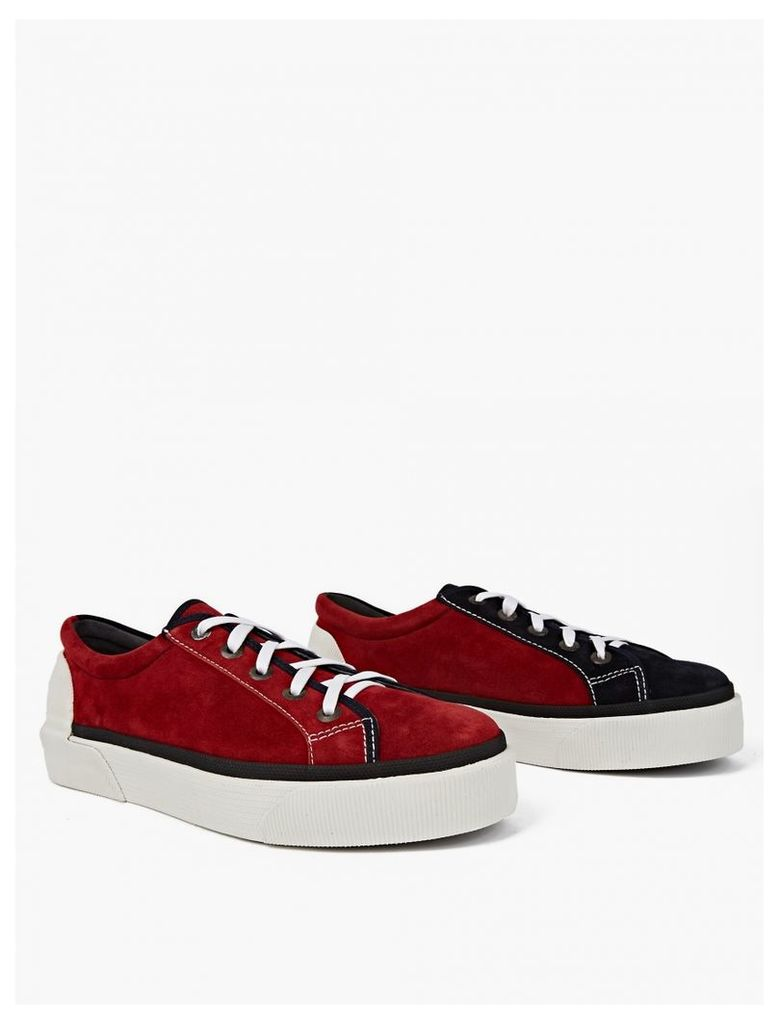 Red Panelled Suede Tennis Sneakers