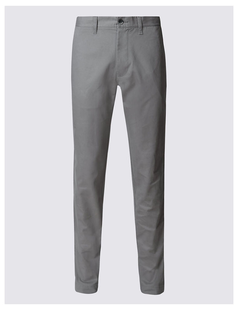 M&S Collection Slim Fit Pure Cotton Flat Front Chinos